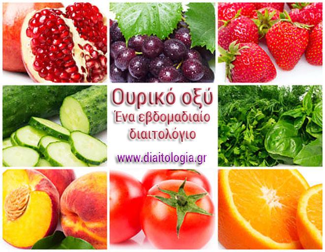 Ουρικό οξύ: ένα εβδομαδιαίο διαιτολόγιο